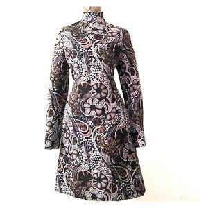 VINTAGE Retro 60s Groovy Floral Print Poly Dress